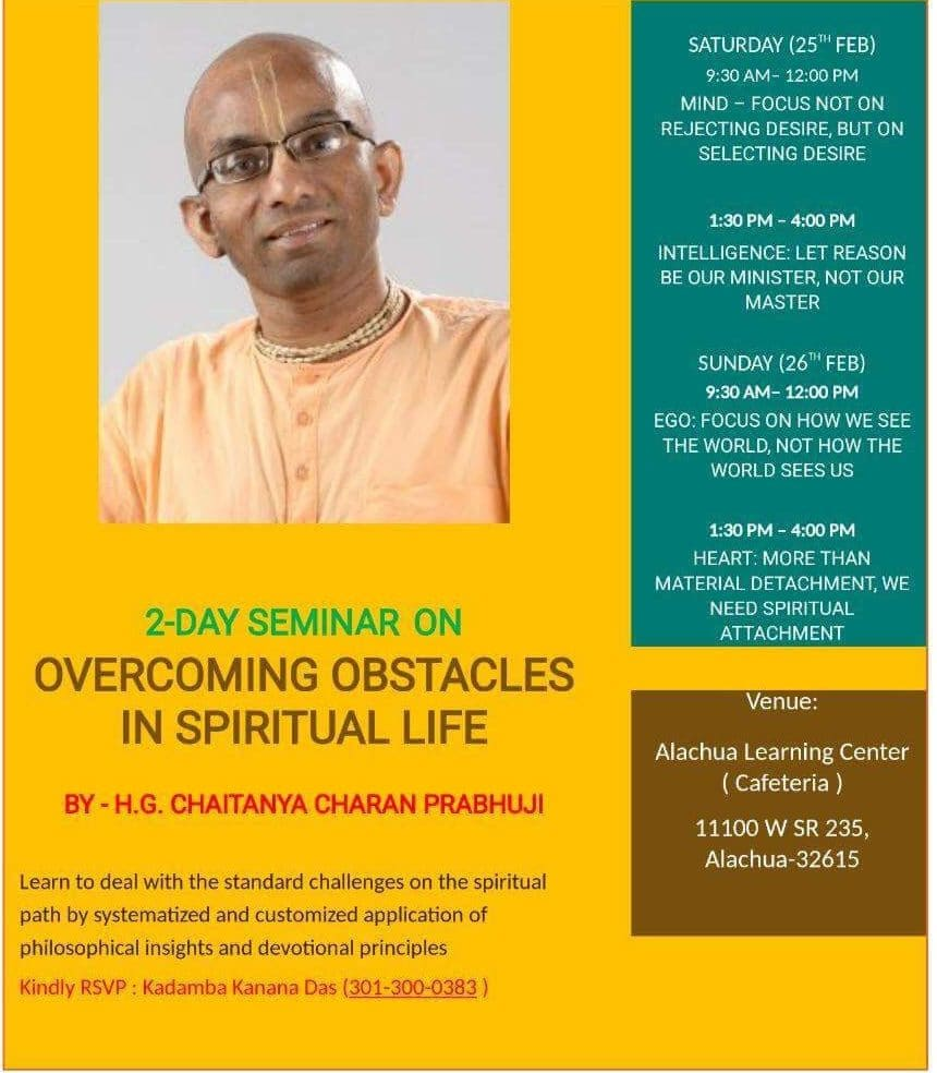 2- Day Seminar On Overcoming Obstacle in Spiritual Life @ Alachua Learning Center
